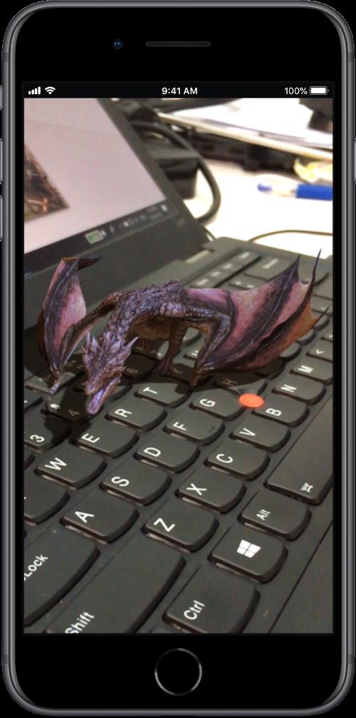 AR dragon on my keyboard